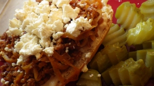 5-Minute Italian Sausage Sloppy Joes with Feta and Dill Pickles